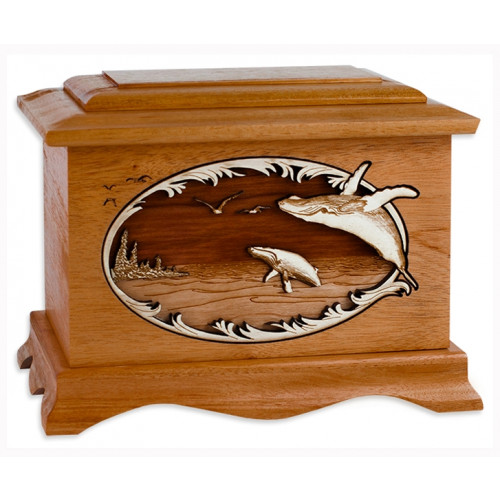 Whales Cremation Urn for Ashes with 3D Inlay Wood Art - Mahogany