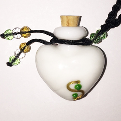 White Heart Glass Bottle Cremation Pendant for the ashes of your loved one