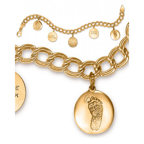 Double Link Charm Bracelet in 14k Yellow Gold