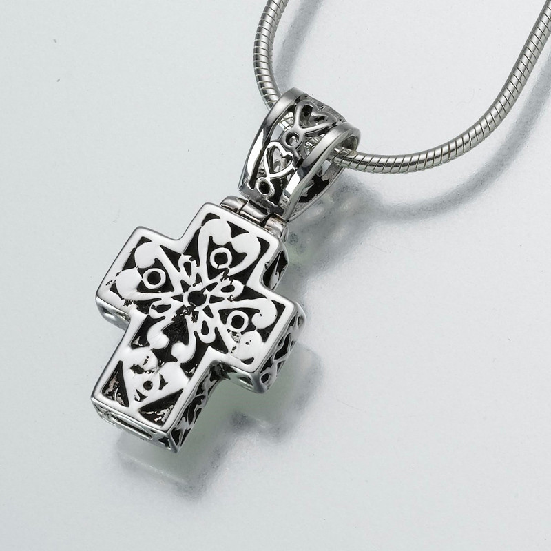 Filigree cross cremation jewelry pendant keepsake necklace filigree cross cremation pendant in sterling silver aloadofball Image collections