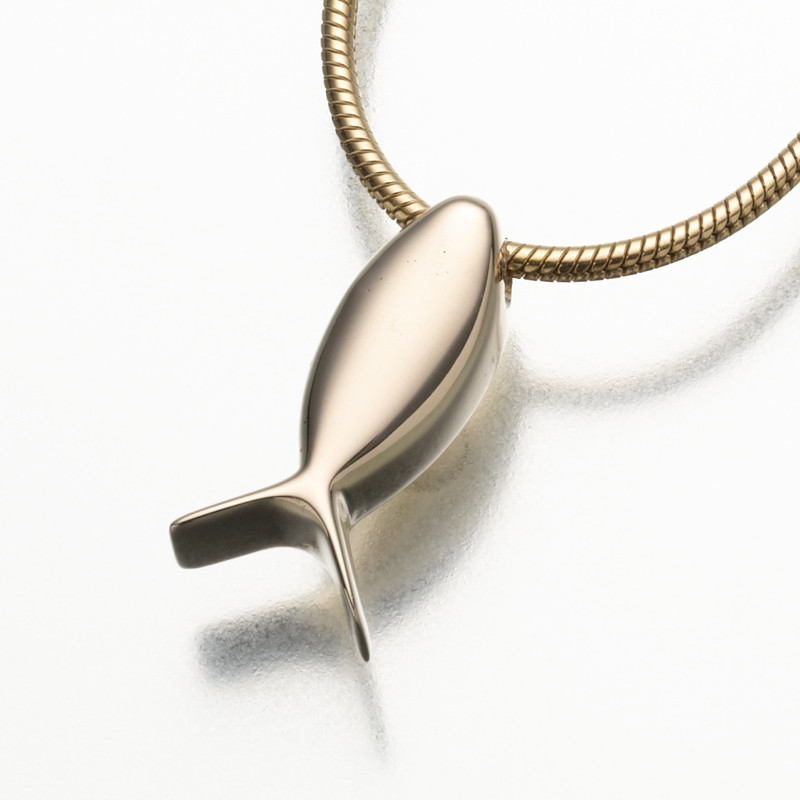 Ichthus fish cremation ashes jewelry keepsake for Fish cremation jewelry