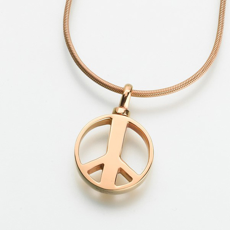 Peace sign cremation pendant cremation solutions peace sign cremation pendant in gold aloadofball Images