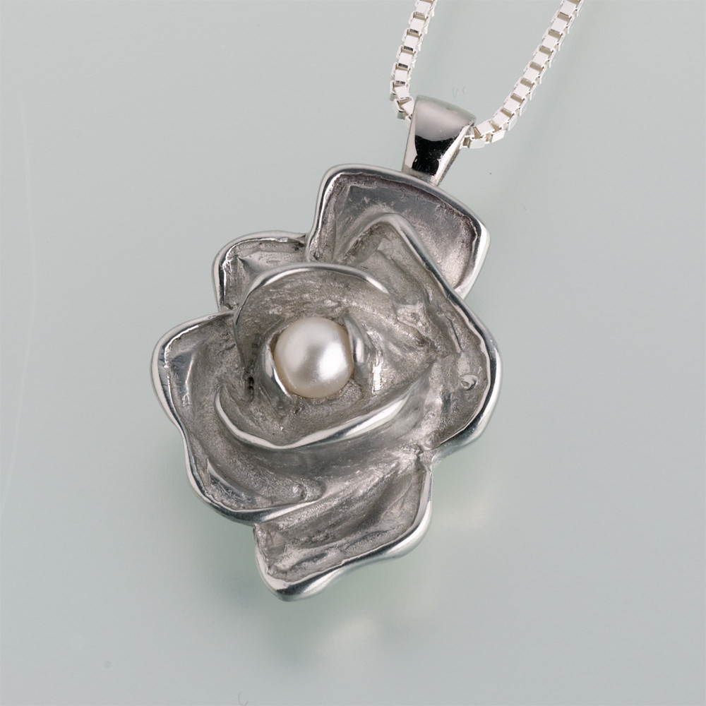 Pewter Rose With Pearl Necklace For Ashes 2 Color Options