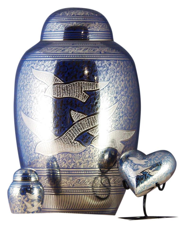 Brass Urn Cremation Ashes Keepsake Blue Doves