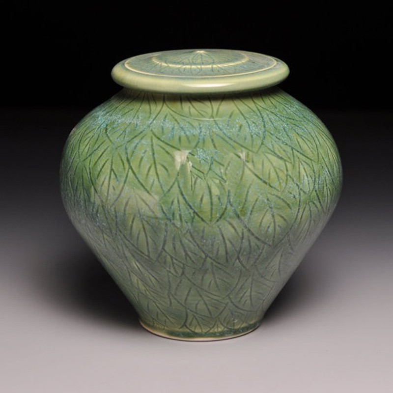 Green Leaves Ceramic Cremation Urn Cremation Solutions