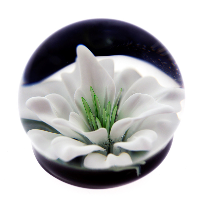 White Flower Life Orb Paperweight Glass Cremation