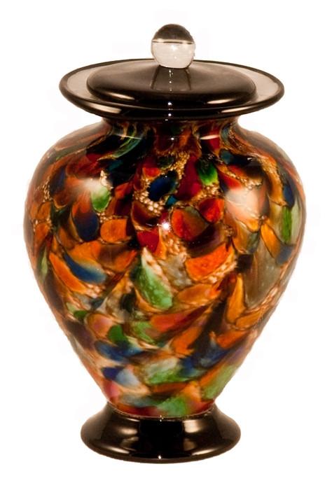 Amato Autumn Hand Blown Glass Pet Cremation Urn