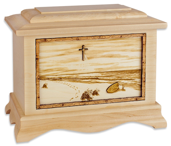 Footprints In The Sand Urn With 3d Inlay Wood Art