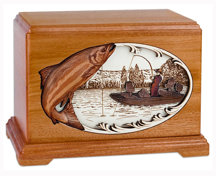 Boat Fishing Urn With 3d Inlay Wood Art