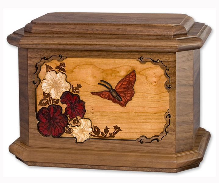 Butterfly Urn With 3d Inlay Wood Art Cremation Solutions