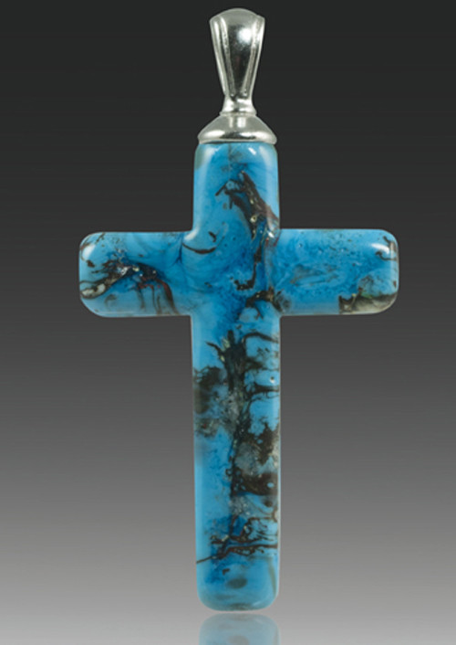 Turquoise Glass Cross Cremation Pendant For Men