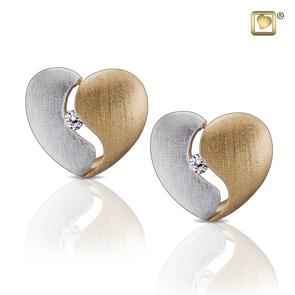 Gold Heartfelt Two Tone Earrings With Clear Crystal