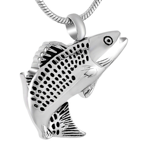 Cremation pendant that holds ashes necklace fish for Fish cremation jewelry