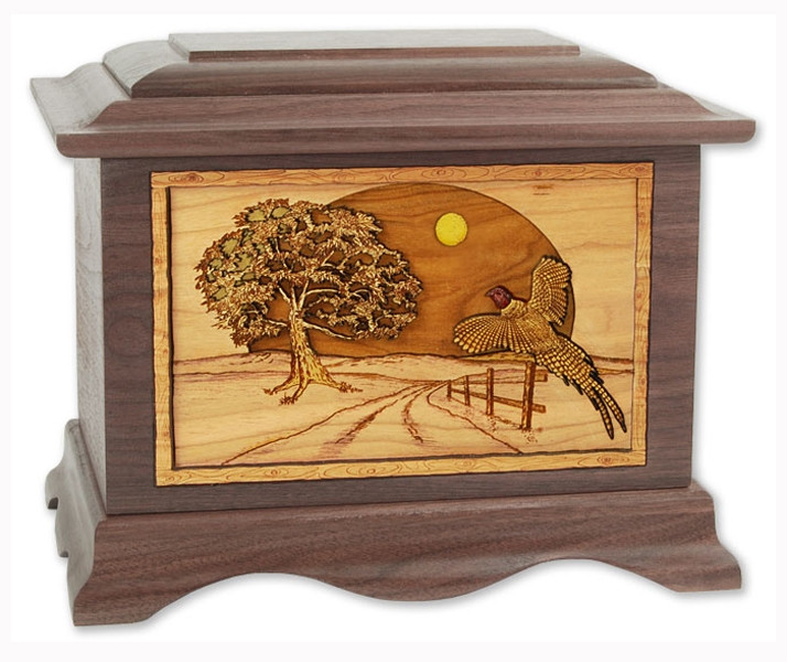 Heartland Game Bird Collection Urn With 3d Inlay Wood Art