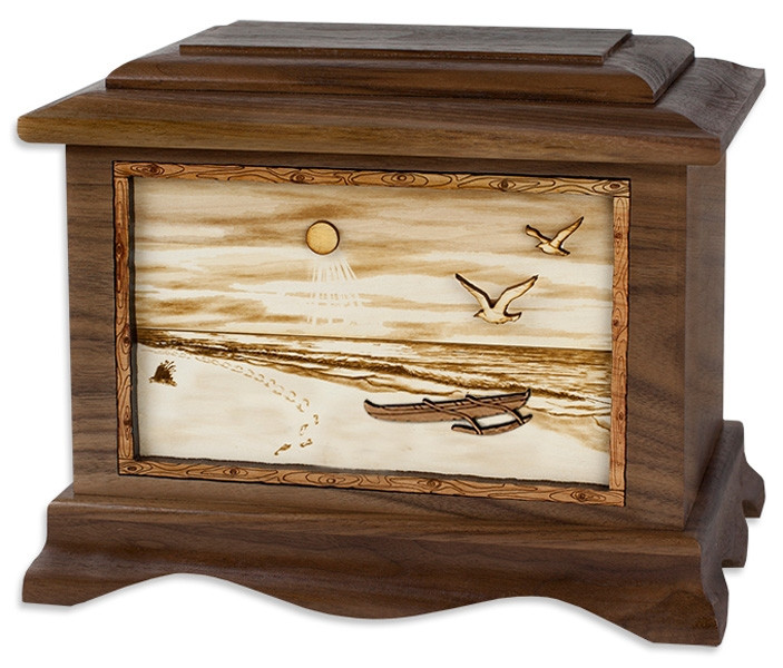 Hawaiian Urn With 3d Inlay Wood Art Cremation Solutions