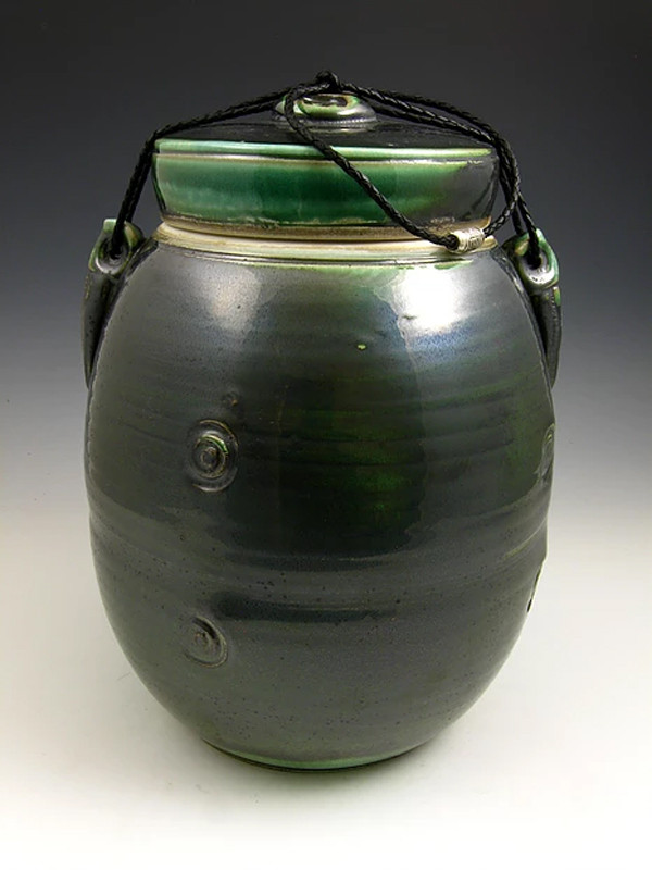Dark Jade Soda Fired Urn Cremation Ashes Ceramic