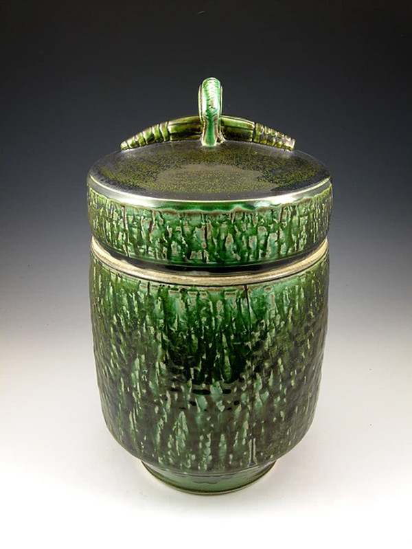 Mossy Gem Soda Fired Urn Cremation Ashes Ceramic