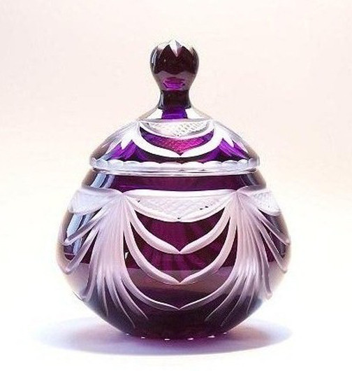 Angel Wings Dark Amethyst Lead Crystal Glass Urn