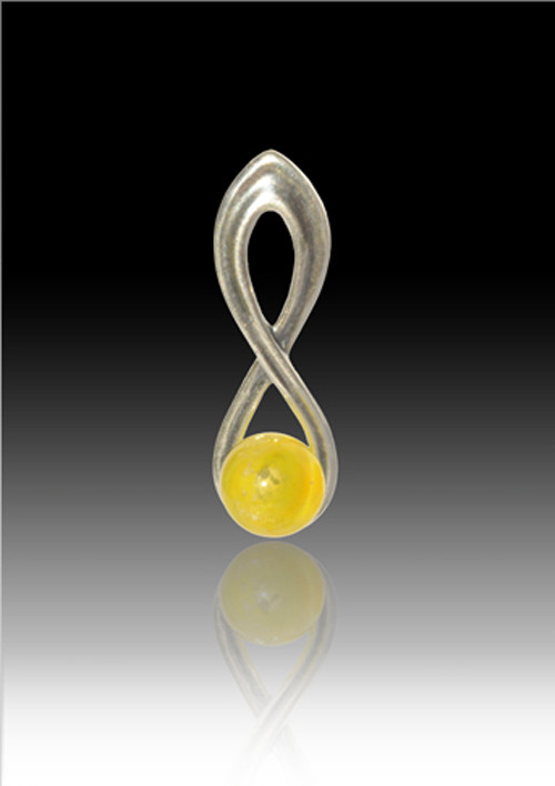Infinity Glass Bead Pendant Yellow Cremation Solutions