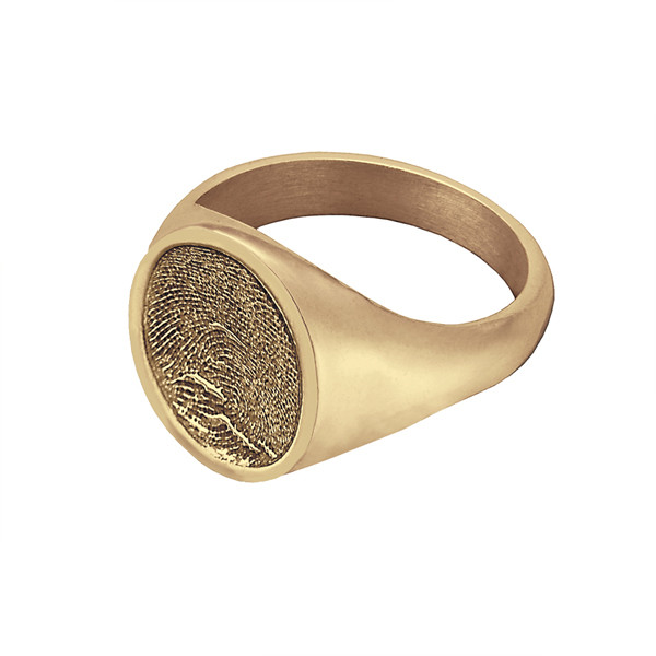 Signet Ring In 14k Gold Fingerprint