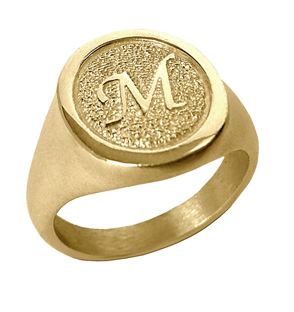 Signet Style Of Fingerprint Ring In Yellow And White Gold