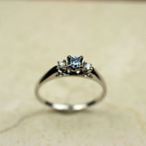 Cathedral Ring with Accent Diamonds for Princess Cut