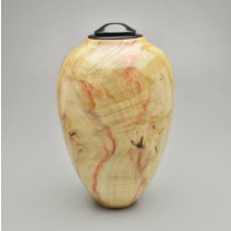 Hand Turned Box Elder Urn with Ebonized Cherry
