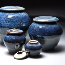 Blue Galaxy Ceramic Cremation Urn for Ashes