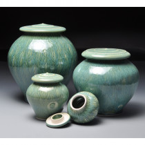 Green Leaves Ceramic Cremation Urn for Ashes