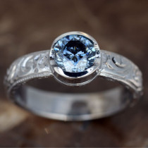 Hand Engraved Ring for Round Cut