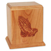 Newport Vertical Cremation Urn for Ashes - Praying Hands