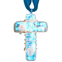 Cross Dichroic Glass Pendant #03