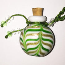 Green Ripple Glass Bottle Cremation Pendant that holds the ashes of your loved one