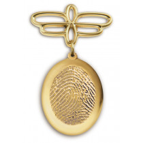 Fingerprint Charm Hanging Pin in 14k Yellow Gold