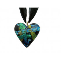 Heart Dichroic Glass Pendant #04