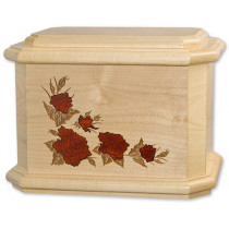 Roses Octagon Cremation Urn for Ashes