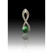 Infinity Glass Bead Pendant - Malachite - Sterling Silver