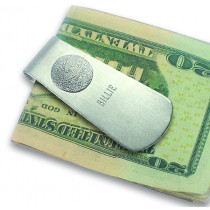 Money Clip with Sterling Silver Fingerprint