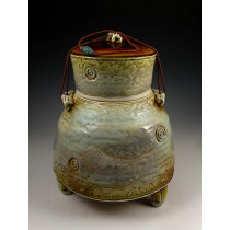 The Ocher Blue Soda Fired Urn