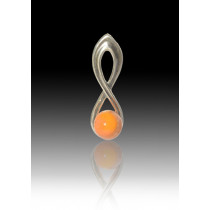 Infinity Glass Bead Pendant - Orange - Sterling Silver