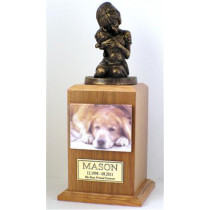 My Best Dog Ever Urn with Magnetic Photo Holder and and Engraved Square Nameplate