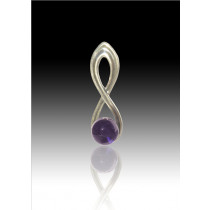 Infinity Glass Bead Pendant - Purple - Sterling Silver