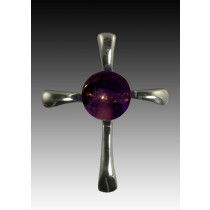 Symphony Cross Pendant - Purple - Sterling Silver
