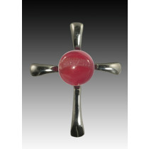 Symphony Cross Pendant - Red - Sterling Silver