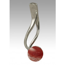 Tempo Glass Bead Pendant - Red - Sterling Silver