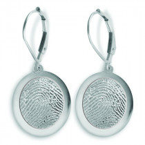 Sterling Silver Fingerprint Charm Earrings