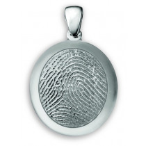 Classic Small Fingerprint Charm with Polished Rim in Sterling Silver