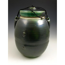 The Dark Jade Soda Fired Urn