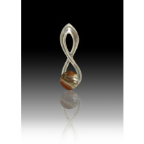 Infinity Glass Bead Pendant - Tiger - Sterling Silver