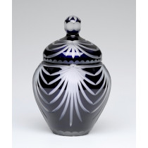 Angel Wings Navy Blue Lead Crystal Glass Cremation Urn for Ashes